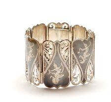 Vintage Siam Niello Bracelet Huge Black Enamel Sterling Silver 59.2g