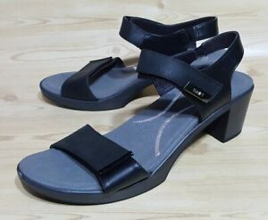 Naot Ankle Strap Heel Sandals 9 / 39 Black Leather Womens Open Toe