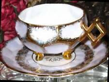 Royal Halsey 3 Footed LAVENDER IRIDESCENT GOLD Tea Cup & Saucer