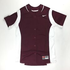 Nike Vapor Full-Button Softball Performance Jersey Women's Large Maroon 630600