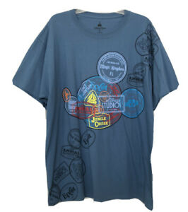 New Men's DISNEY Parks Shirt Blue 4 Parks WDW Rides Short Sleeve Tee XL NWT