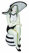 SCULPTURE - BATHING BEAUTY IN BLACK & WHITE BATHING SUIT WITH SUN HAT