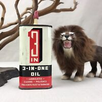 3-IN-ONE Oil Vintage Oil Can 3 oz 3 in 1 Light Penetrating Oil Oiler Made in USA