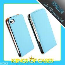 SALE!! iPhone 4 4S Leder Handytasche Flip Case Cover Schutzhülle Klapp Etui Blau
