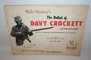 THE BALLAD OF DAVY CROCKETT WALT DISNEY'S MUSIC NOTES BOOK SHEET 1955 VERY RARE