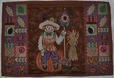 Tapestry Placemat~Fall Scarecrow~Pumpkin~Crow~Autumn Leaf~Jack-o-Lantern~NEW