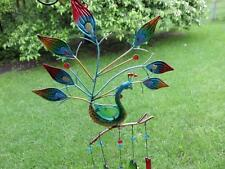Peacock Wind Chime Iron +Fusion Glass Feathers garden fence chimes 30 in