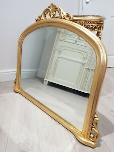 🕊GILT FRAME IN GOLD  FIREPLACE  ARCHED OVERMANTLE MIRROR ROCOCO STYLE (DAMAGED)