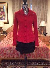 ICONIC GORGEOUS CHIC Oscar de la Renta Cable Knit/crochet cashmere Red cardigan