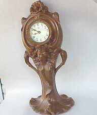 LARGE Antique Jennings Bros. Brothers Art Nouveau Mantel Lady Statue Clock