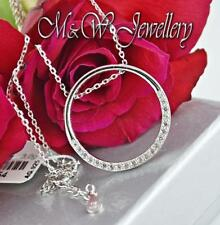 925 STERLING SILVER RHODIUM PLATED NECKLACE PENDANT CIRCLE with WHITE ZIRCONIA