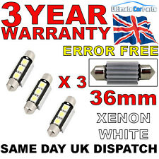 3 X 36MM 3 SMD LED 239 272 C5W CANBUS NO ERROR INTERIOR LIGHT FESTOON BULB WHITE