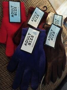 5 pr Magic Gloves Knit Stretch Fall Winter Warm Unisex Plain Adult One Size
