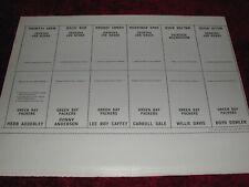 1969 Glendale Football Green Bay Packer stamp sheet