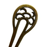 "Antiqued Gold 6-1/8"" Bun Holder Updo French Twist Tool Hair Stick Fork Clip Pin"
