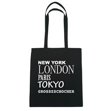 New York, London, Paris, Tokyo grosszschocher - Borsa di iuta - colore: Nero