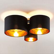 Deckenlampe Laurenz E27 Stoff Textil Leuchte Lindby 3 Schirme rund schwarz gold