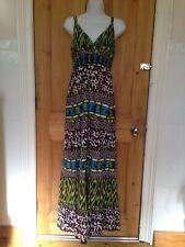 Boho Hippy Cotton Long Maxi Dress Brown Green Blue White UK12