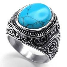 Vintage Oval Cut Turquoise Silver 316L Stainless Steel Men Ring Size 7-15 US
