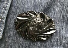 Black Cameo Brooch, Pinwheel Design, Vintage Brooches