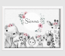 pink flower print safari animals girl nursery pink gift baby birth wall personal