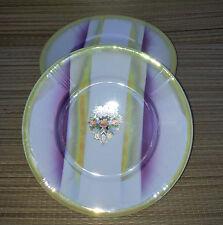 Lot de 5 assiettes en faience nacrée avec déco florale, french antique plates