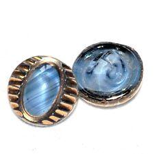 1 bouton ancien en verre bleu et or 11mm button