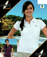 Damen Poloshirt Sommer T-Shirt 100% Baumwolle figurbetont Slim Fit MAUI Sports