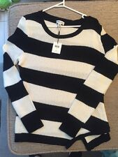 NWT Women's Calvin Klein Black / Cream Striped Sweater - Large - Cross Over Hem