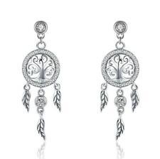 12a0f92e0 Vintage Tree of Life Dream Catcher 925 Sterling Silver Drop Earrings B01
