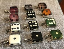 FULL SIZE DICE STERLING SILVER PENDANT JEWELRY NECKLACE VEGAS ROCKABILLY NEW