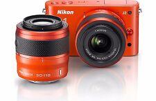 Nikon 1 J2 Digital Camera Orange w/ Nikkor VR 10-30mm & Nikkor 30-110mm Lenses