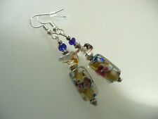 Vintage Art Deco Glass, Crystal & Murano Floral Glass Long Earrings Prom Boho