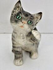 Goebel Grey Striped Kitten Green Eyes Figurine Marked Goebel W. Germany 31005