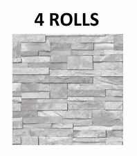 Natural Grey Slate Wallpaper Stone Brick Effect Washable Vinyl x 4 Rolls