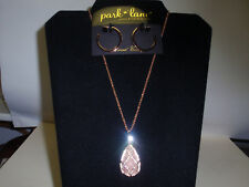 Park Lane Jewelry Brittany Rose Necklace & Geo Earrings, Pink Quartz, Crystals