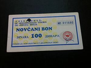 WAR TIME LOCAL NOTE - 100 Dinara 1992s, VELEPROMET - BREZA - VISOKO - Bosnia !!