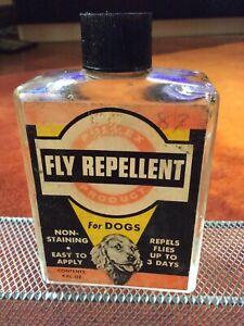 Vintage Dog Glass Jar Paper Label Fly Repellant ~ Dog Bath Flea Shampoo OLD 1956