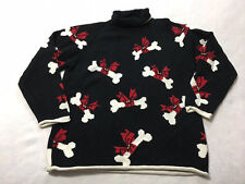 101 Dalmatians Disney Marisa Christina M Medium Black Red Puppy Dog Bone Sweater
