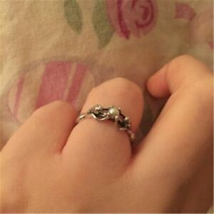 Two Mermaids silver colour wedding Ring Size Q/8