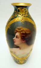 Superb Antique Hand Painted Vienna Austria Female Portrait Vase Signed 1900