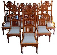 Vintage Reprod. Renaissance Revival Style Throne Dining Chairs, Set of 8