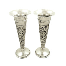 "PAIR OF ANTIQUE STERLING SILVER 7 1/2"" VASES - 1901`"