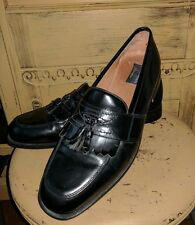 BOSTONIAN FLORENTINE ITALY BLACK LEATHER KILTY TASSEL LOAFERS SHOES MENS 12 M