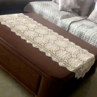 Vintage Hand Crochet Cotton Table Runner/Scarf Ecru Oval Lace Doily 19x70inch