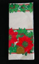Vtg Hallmark Christmas Paper Table Cover 60 X 102 Border Design w/ White Center