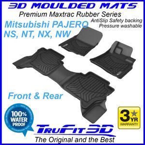 Fit Mitsubishi Pajero 2006 - 2021 3D Maxtrac Black Rubber Floor Mats F&R