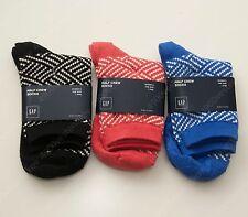 Gap Woman Half Crew Socks blue red & Black knit pattern 3pc set