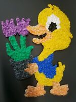 VINTAGE MELTED PLASTIC POPCORN Chick Duck Flowers  EASTER DECORATION