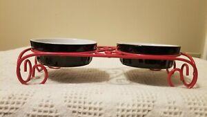 Pet Dog Bowls 2 Ceramic Food Water Metal Stand Black Red Gibson Dishwasher Safe